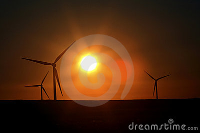 Sun glare upon Alberta windfarm