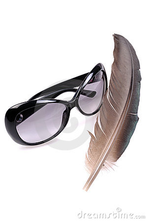 Sun glasses and feather