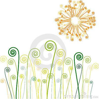 Sun and grass with swirls