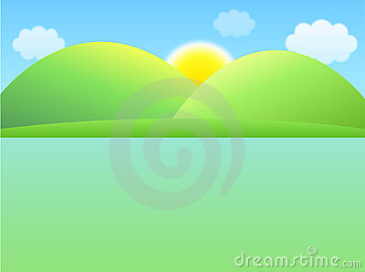 Sun and hill