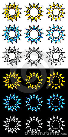 Sun icon and logo elements