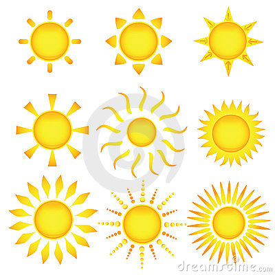 Sun icons. Vector illustration