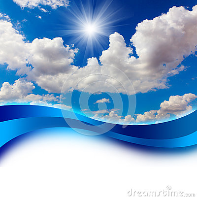 Free Sun In Blue Sky Cover Design Royalty Free Stock Images - 24989659