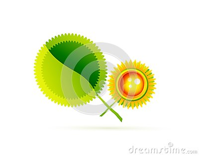 Sun with leaves. Nature concept