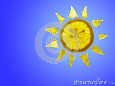 Sun Lemon with blue copyspace