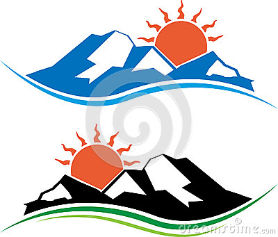 Vector illustration of sun and mountain logos.