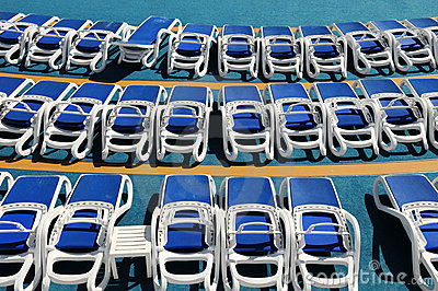 Sun Loungers On Cruise Deck