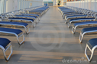 Sun loungers on cruise ship