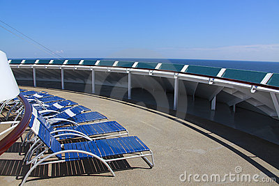Sun loungers cruise ship deck