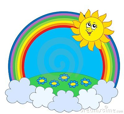 Sun and meadow in rainbow