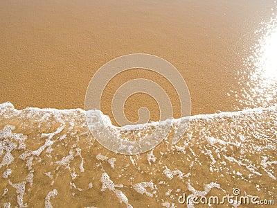 Sun mirrored in the wet sand beach