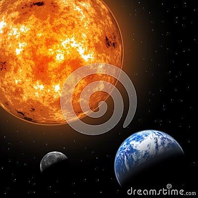 Sun, Moon and Earth