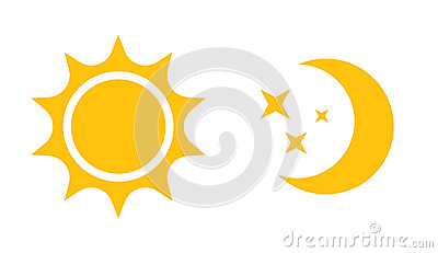 Sun and moon flat icon. Vector logo for web design, mobile and infographics Vector Illustration