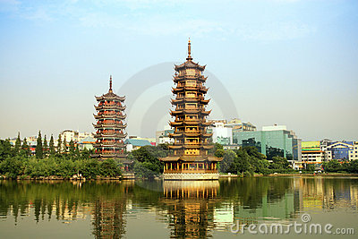 Sun and the moon tower,China