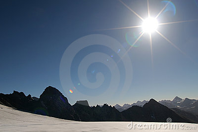 Sun in the mountains