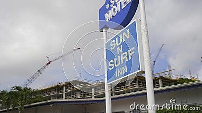 Sun N Surf Motel Inn Miami Florida USA stock videobeelden