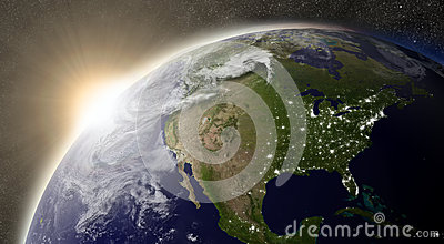 Sun over North America