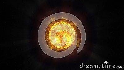 Sun/palla di energia nello spazio che irradia energia 4k stock footage