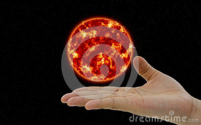 The Sun planet hovering over the hand
