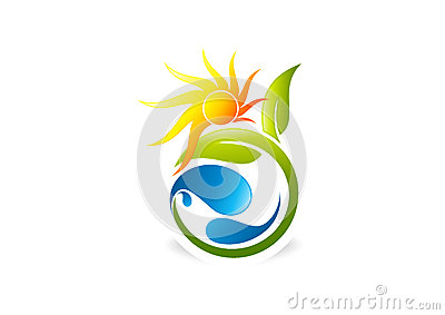 Sun, plant, people, water,natural,logo, icon,health,leaf,botany,ecology and symbol Vector Illustration