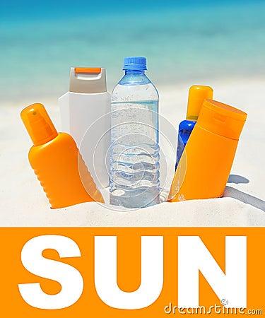 sun protection cream on beach background