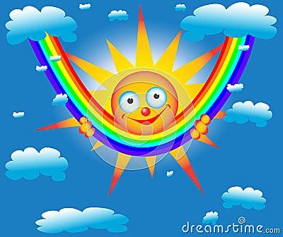 The sun on a rainbow