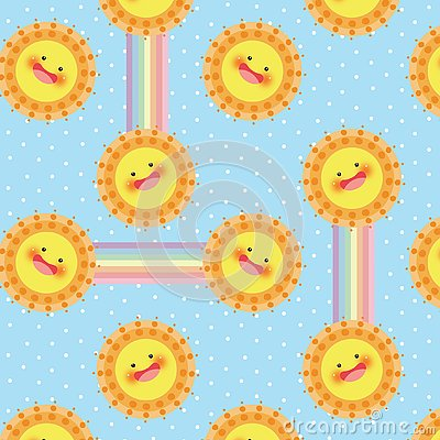 Sun and rainbow vector seamless pattern Vector Illustration