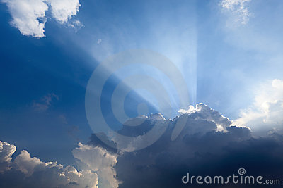 Sun rays behind the cloud
