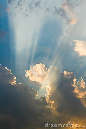 Sun rays in the clouds