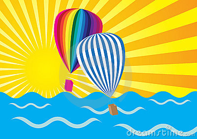 Sun Rays, Ocean and Hot Air Balloons