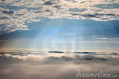 Sun rays over the clouds
