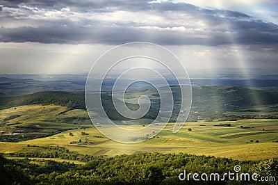 Sun rays over green hills