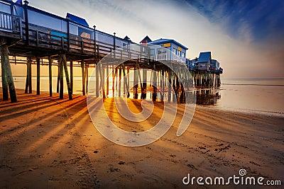 Sun rays on sand, Old Orchard Beach