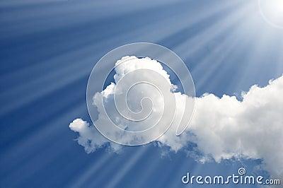 Sun rays in the sky