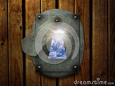 Sun in retro keyhole