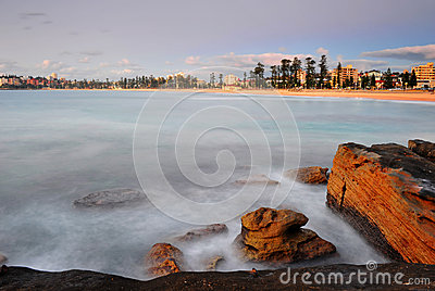 Sun rises over Manly Beach, Sydney, australia