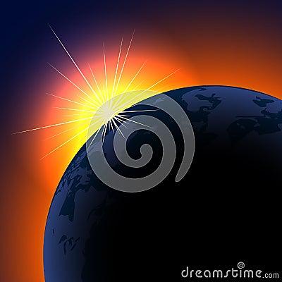Sun rising over planet