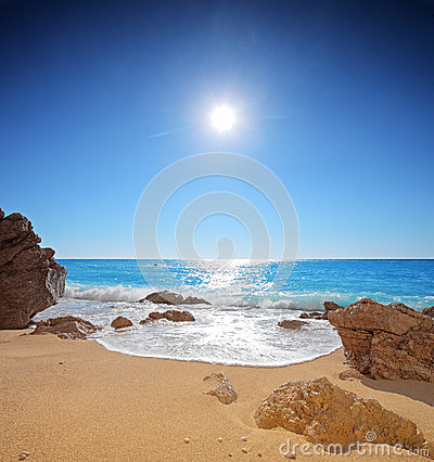Sun and sea on a beach of Porto Katsiki on Lefkada