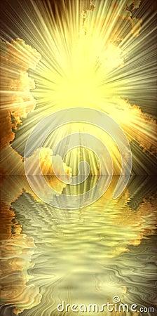 Sun,sea and clouds religious spiritual