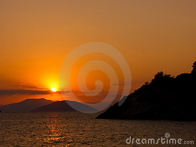 Sun set in the aegean sea