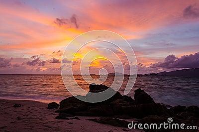 Sun set and beach at Lipe island Thailand