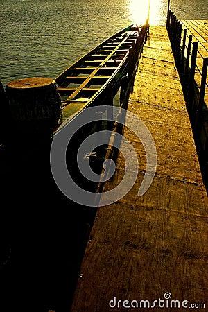 Sun set, boat parked