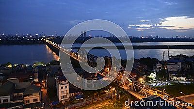 Sun set at Long Bien Bridge stock video
