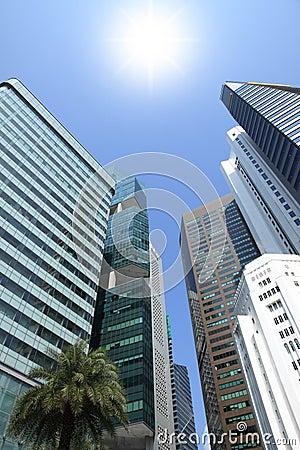 Sun shine above building