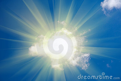 Sun shine from behind cloud