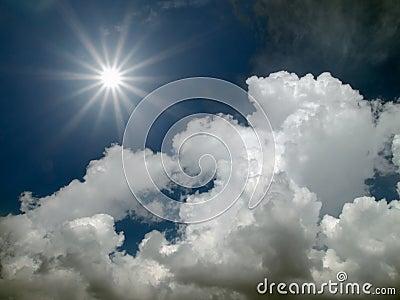 Sun shine in the blue sky