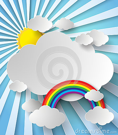Sun shining Between the clouds and the rainbow Vector Illustration