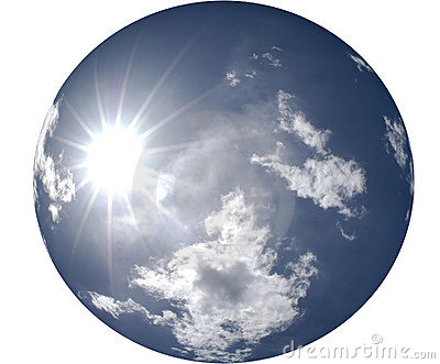 Sun Shining in Round Blue Sky