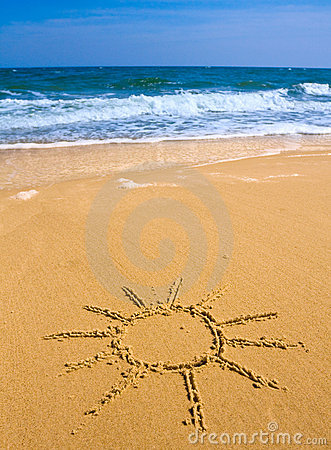 Sun sign  on beach