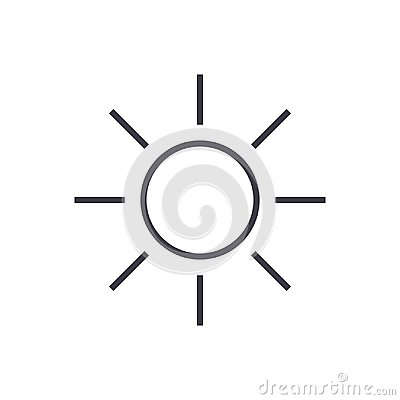 Free Sun Sign Vector Line Icon, Sign, Illustration On Background, Editable Strokes Stock Images - 101022554